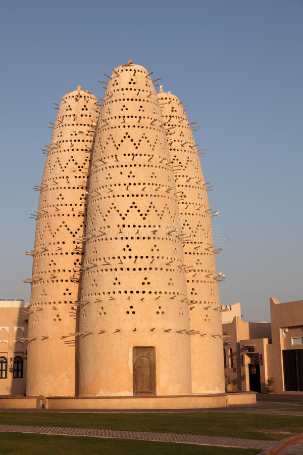 Pigeon towers in Doha Qatar stock photo
