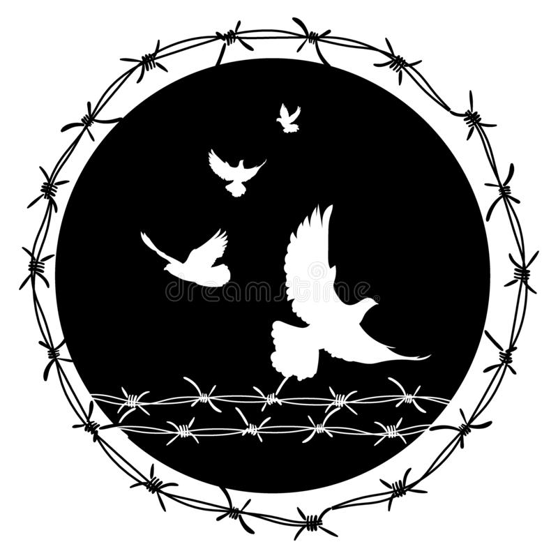 Pigeons in barbed wire. Vector illustration of a holocaust. Console camp. Flying birds through the fence. Pigeons in barbed wire. Vector illustration of a vector illustration