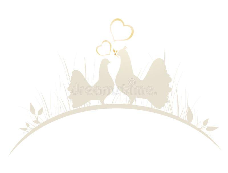 Pigeons dans l'amour illustration libre de droits