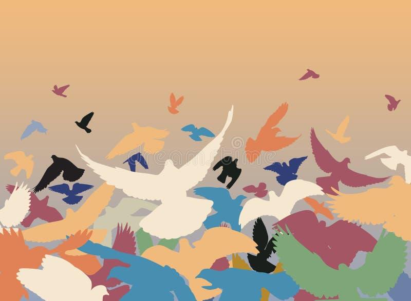 Pigeons de couleur illustration de vecteur