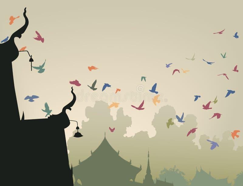 Pigeons de temple illustration de vecteur
