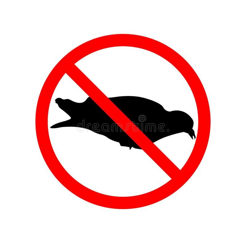 Pigeons entrance no sign. Strikethrough Dove - Prohibition Sign. Eps ten royalty free illustration