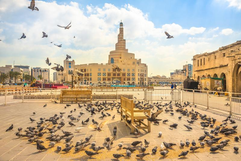Pigeons flying at Souq Waqif stock images