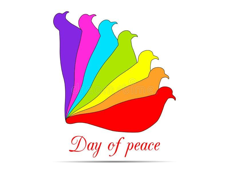 pigeons sur un fond blanc Colombes dans les couleurs du logo d'arc-en-ciel Jour international de paix illustration libre de droits