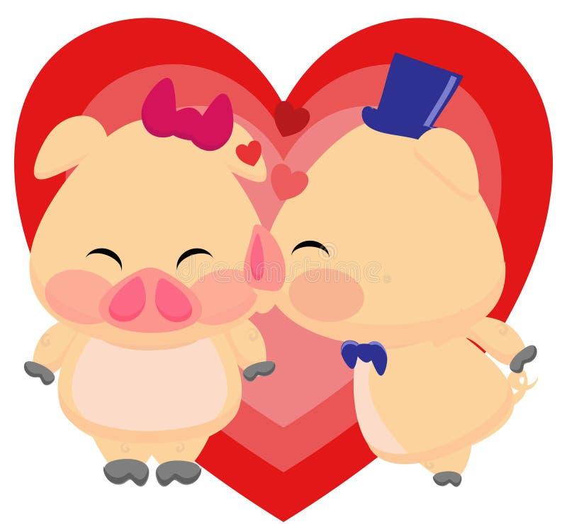 Piggies affectueux illustration de vecteur