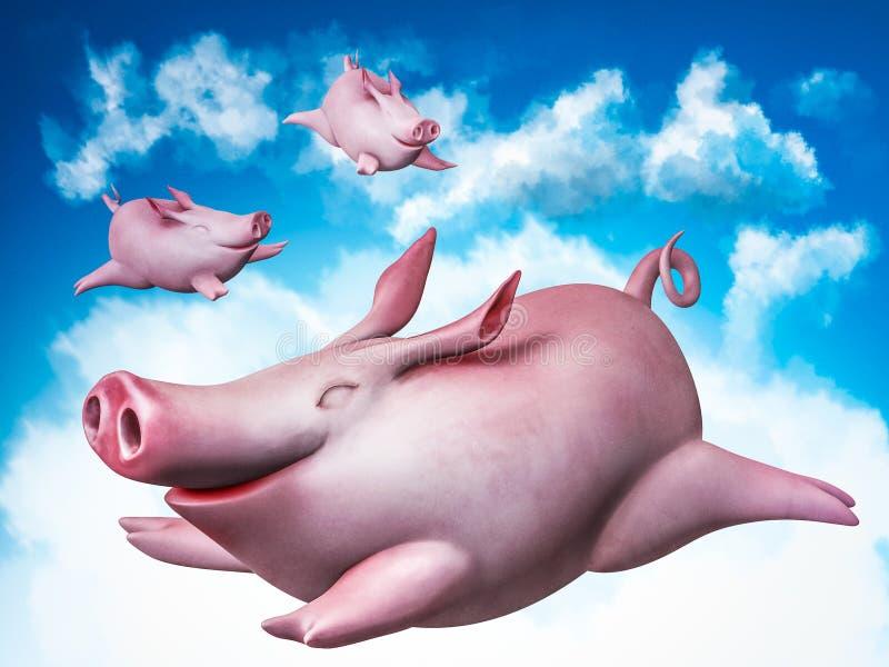 Piggies de vol. Plongeurs de ciel illustration de vecteur