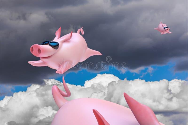 Piggies drôles de vol Plongeurs de ciel illustration stock