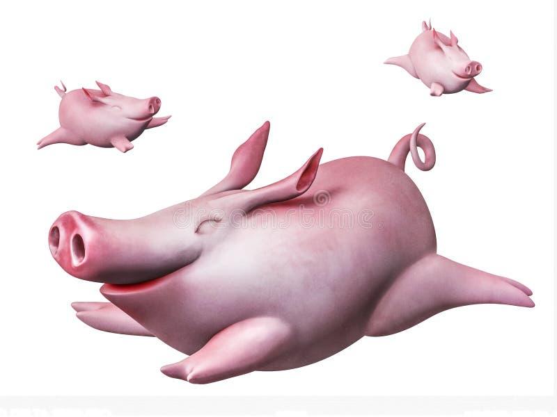 Piggies drôles de vol. Plongeurs de ciel d'isolement sur le blanc illustration libre de droits