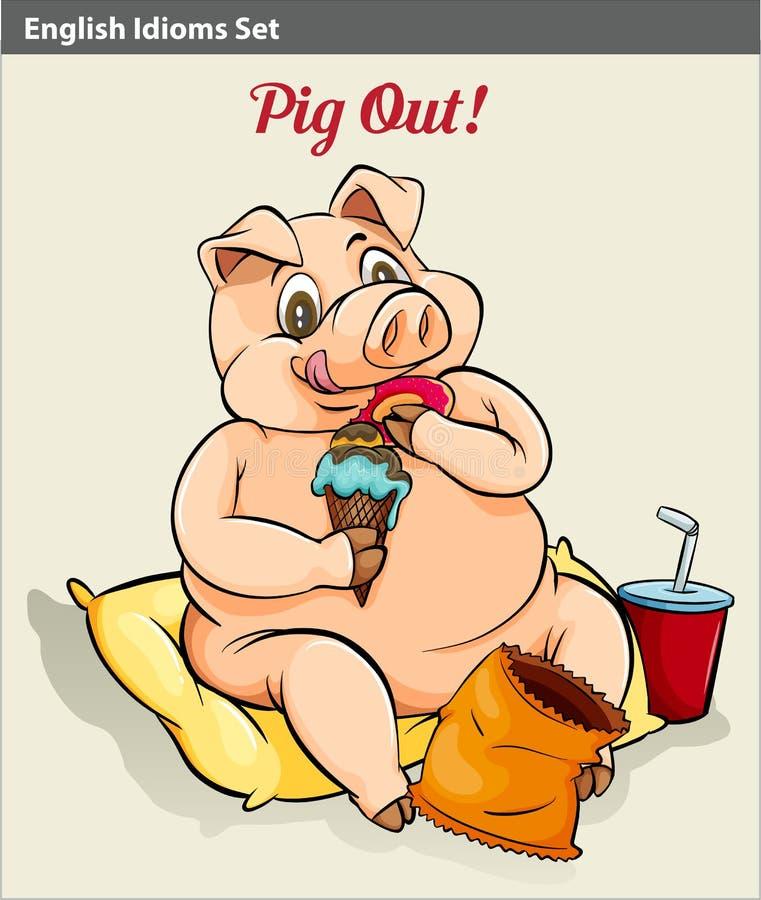 Pigging à l'extérieur illustration stock