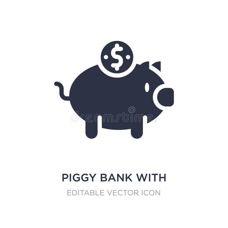 piggy τράπεζα με το εικονίδιο νομισμάτων στο άσπρο υπόβαθρο Απλή απεικόνιση στοιχείων από την έννοια εμπορίου απεικόνιση αποθεμάτων