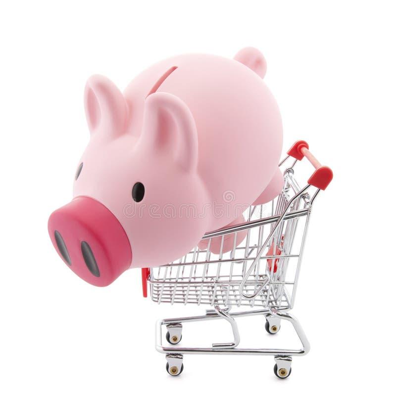 piggy αγορές κάρρων τραπεζών στοκ φωτογραφία με δικαίωμα ελεύθερης χρήσης