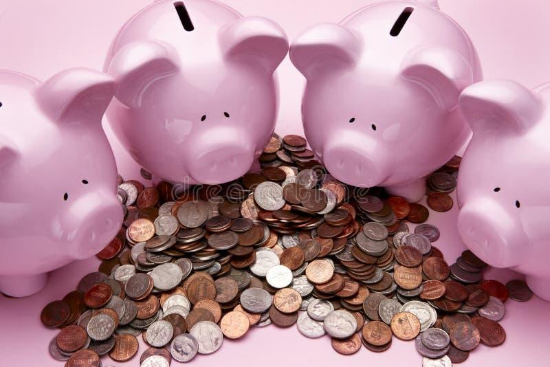 piggy ροζ 4 τραπεζών στοκ φωτογραφία με δικαίωμα ελεύθερης χρήσης