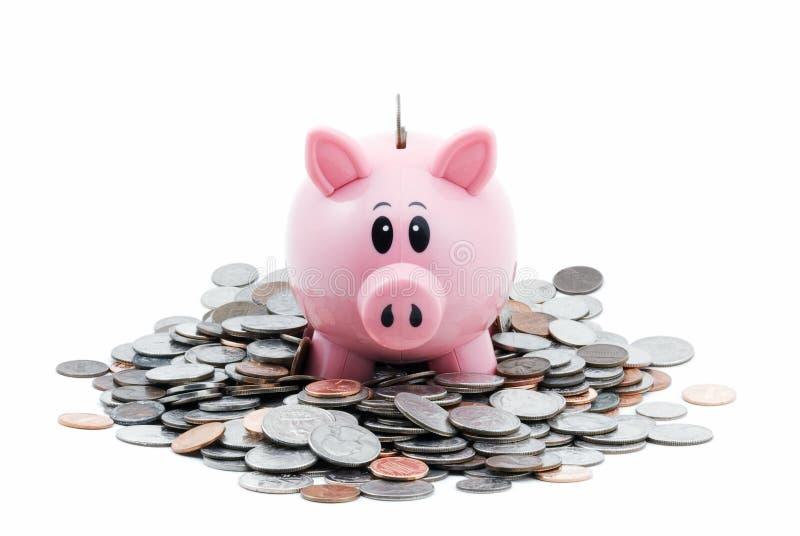 piggy σωρός νομισμάτων τραπεζών στοκ εικόνες