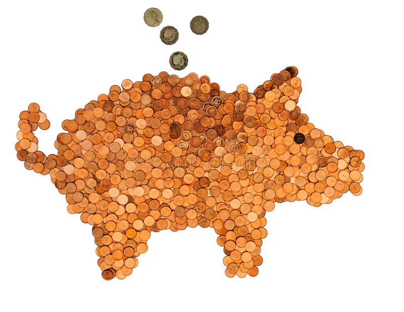 Piggy-τράπεζα από τα σεντ στοκ φωτογραφία με δικαίωμα ελεύθερης χρήσης