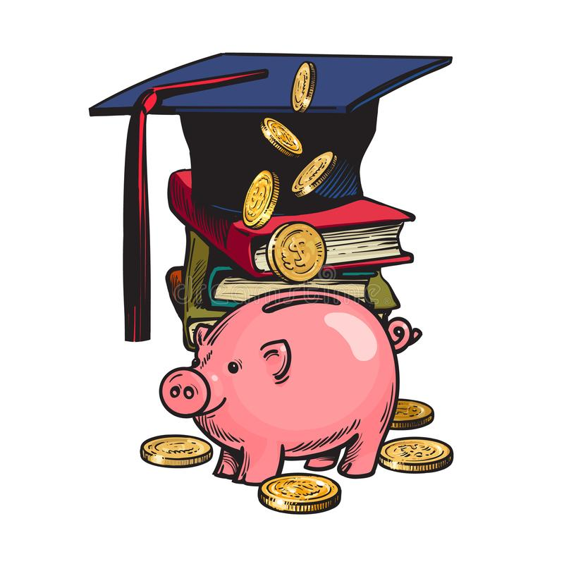 Piggy τράπεζα κινούμενων σχεδίων με το καπέλο βαθμολόγησης, χρήματα, σωρός των βιβλίων ελεύθερη απεικόνιση δικαιώματος