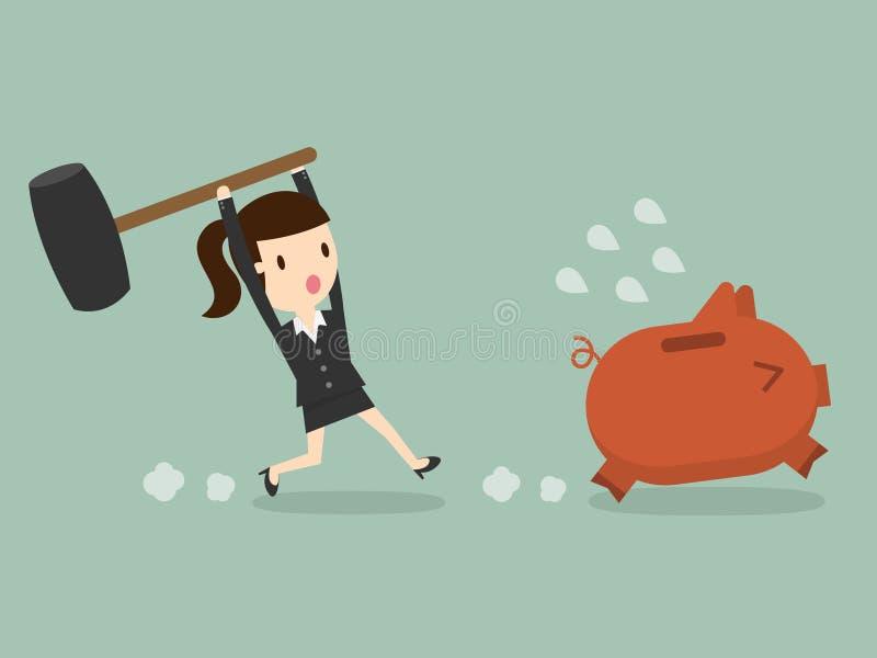 Piggy τράπεζα φρένων διανυσματική απεικόνιση