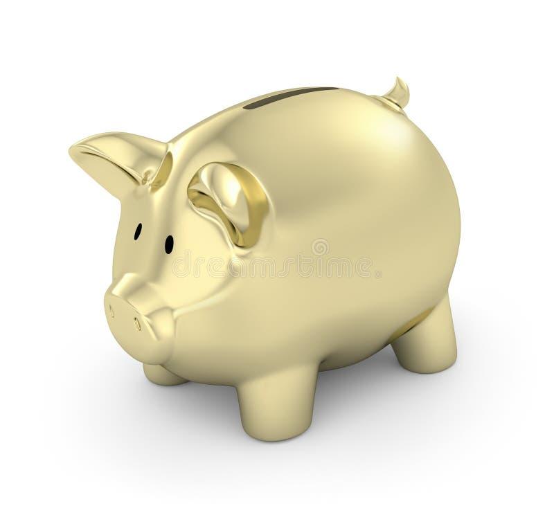 piggy банка золотистое иллюстрация вектора