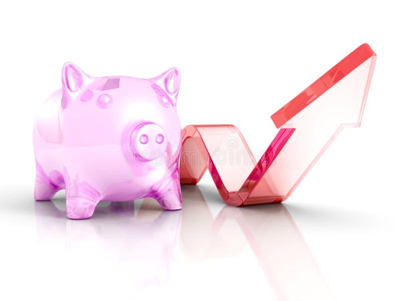 Piggy банк денег с расти вверх поднимая стрелка Успех Investmen иллюстрация штока