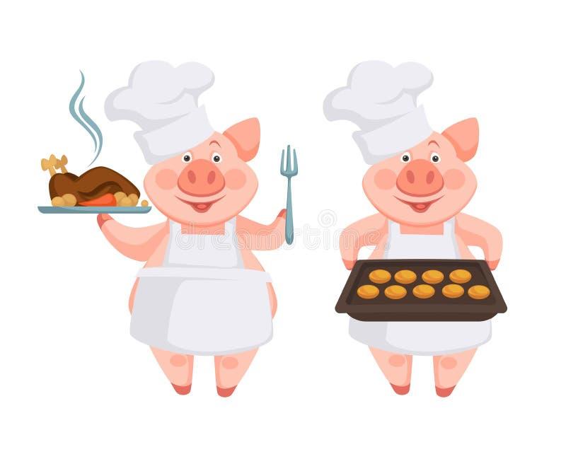 Piggy варя различные блюда для таблицы Нового Года иллюстрация вектора