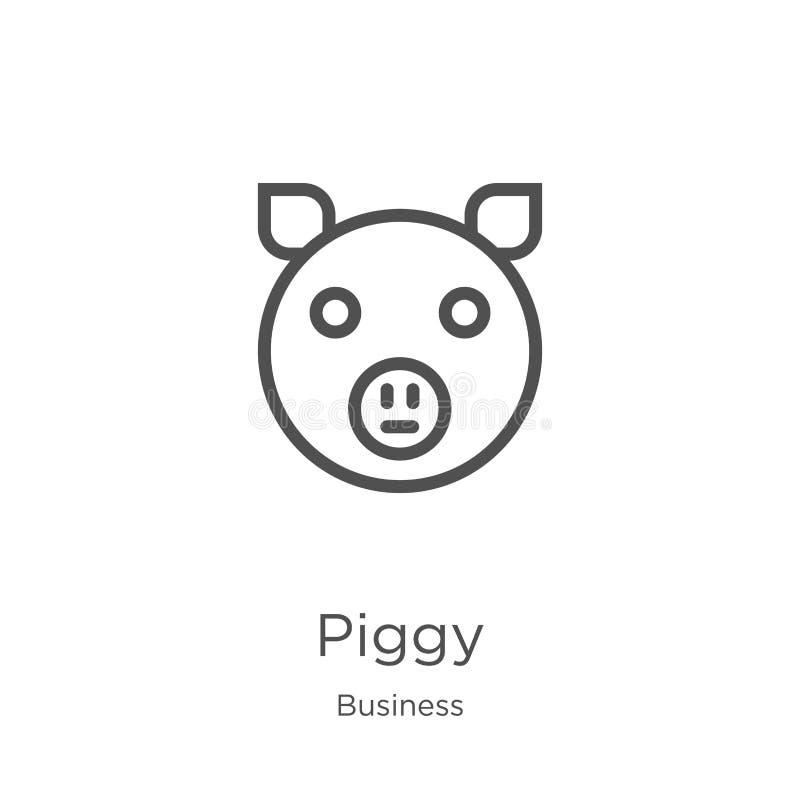 piggy вектор значка от собрания дела Тонкая линия piggy иллюстрация вектора значка плана План, тонкая линия piggy значок для иллюстрация вектора