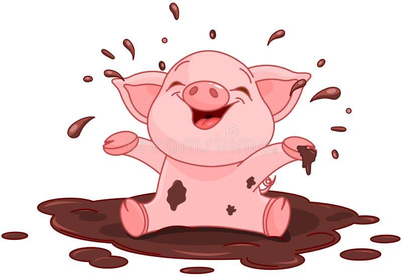 Piggy в лужице иллюстрация вектора