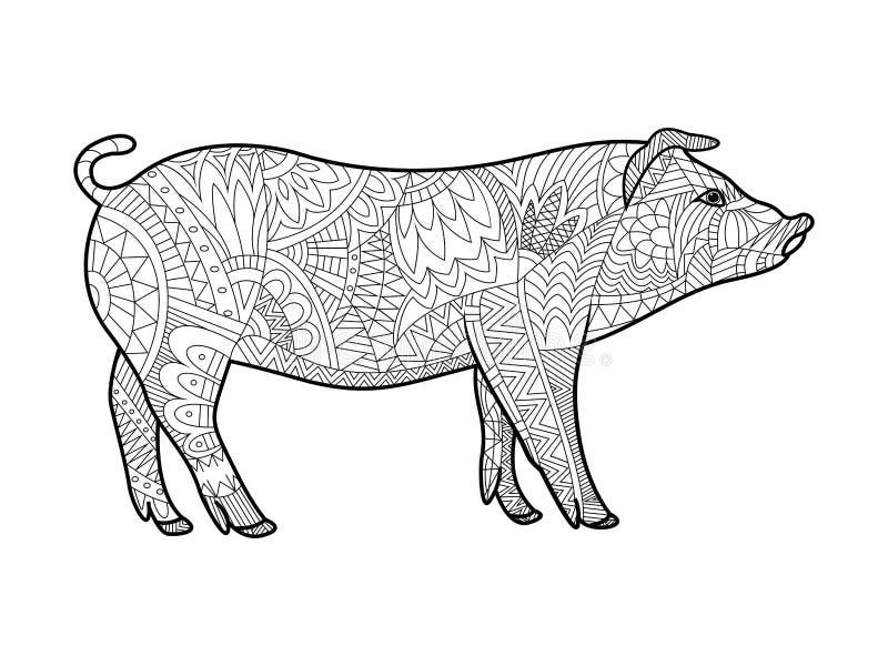 Piggy книжка-раскраска для вектора взрослых иллюстрация штока