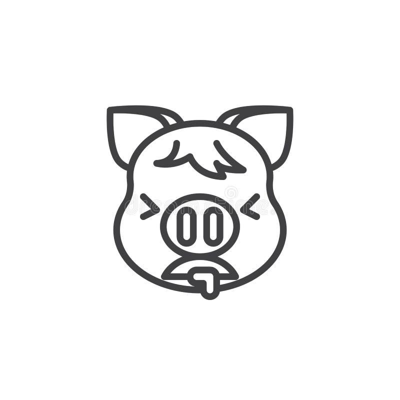 Piggy сторона тошня линию значок Emoji иллюстрация вектора