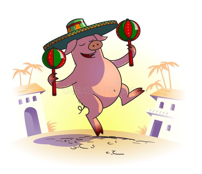Piggy с maracas стоковое фото