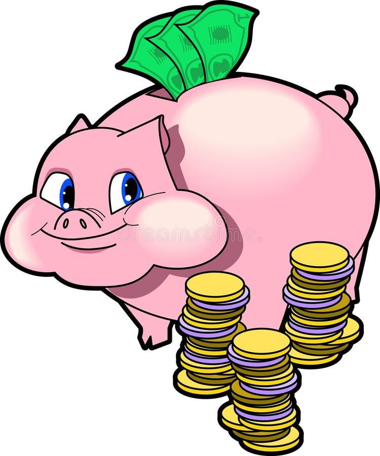 Piggy_bank. Raster cartoon graphic depicting the concept: SAVINGS (piggy bank vector illustration