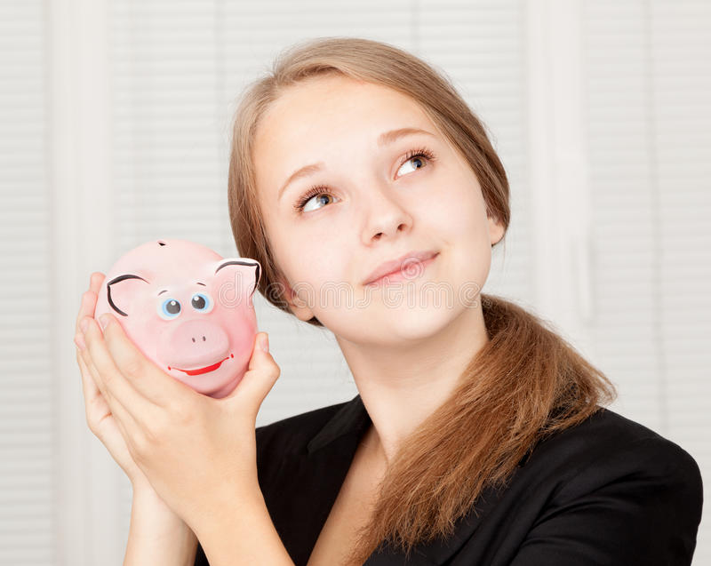 Download Piggy Bank stock image. Image of income, female, casual - 26535765