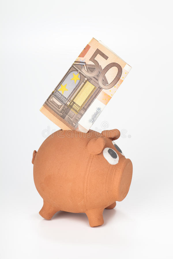 Download Piggy Bank With 50 Euro Banknote Stock Image - Image: 22511355