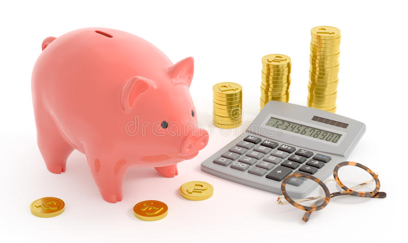 Piggy Bank Accounting (Rouble Coins). Retro style composition of the coin bank near the rouble coins, digital calculator and accounting spectacles/glasses. 3D stock photography