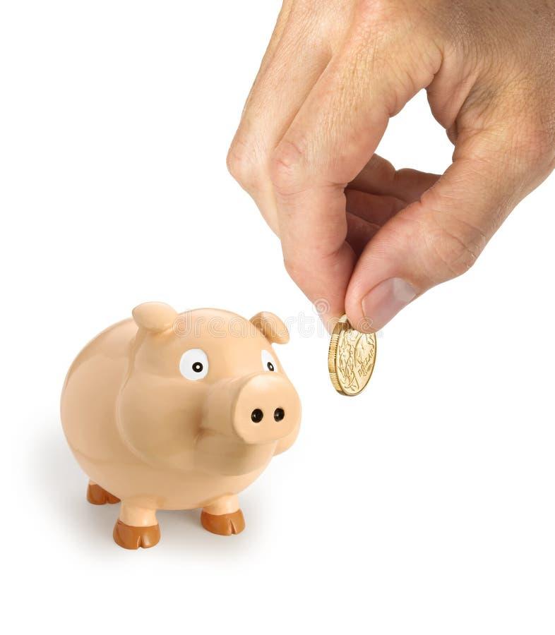 Piggy Bank Australian Dollar Hand stock image