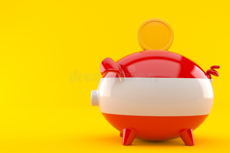 Piggy bank with austrian flag. Isolated on orange background. 3d illustration royalty free illustration