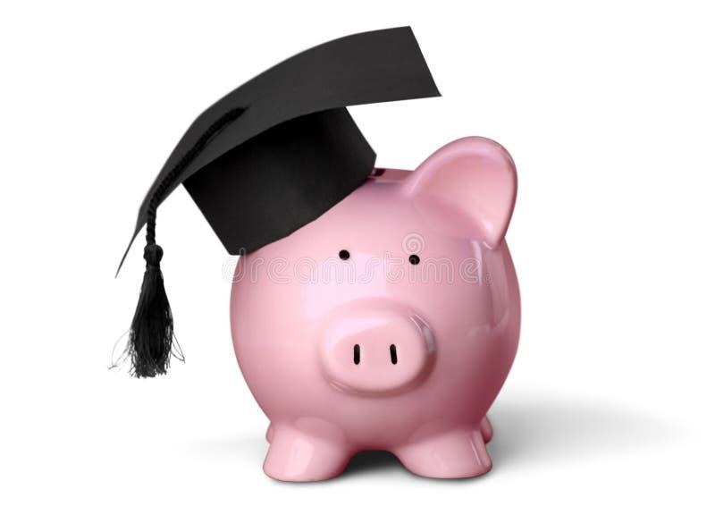 Piggy Bank with Black Graduation Hat royalty free stock photo