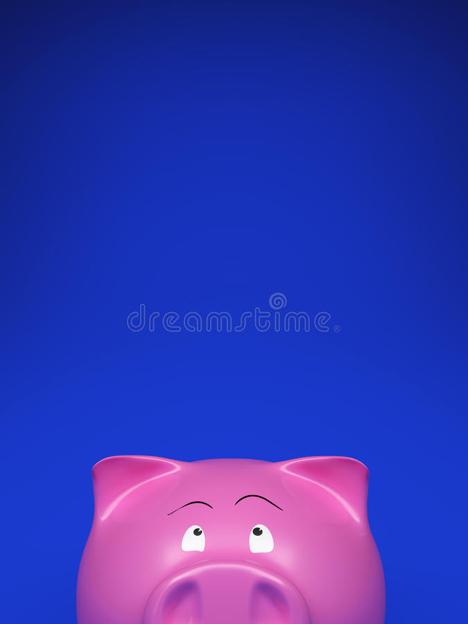 Piggy bank on blank blue royalty free stock photography