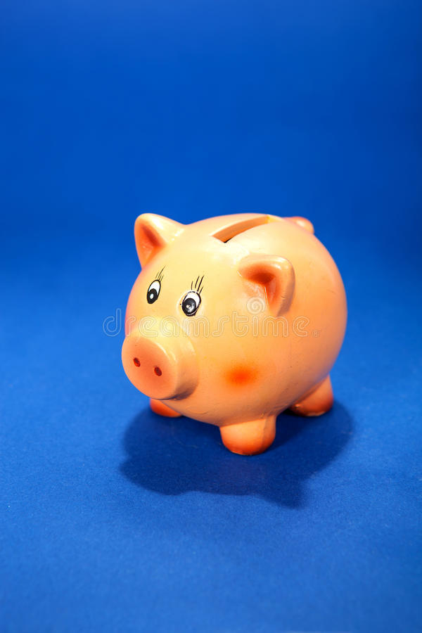 Piggy bank on blue stock photography