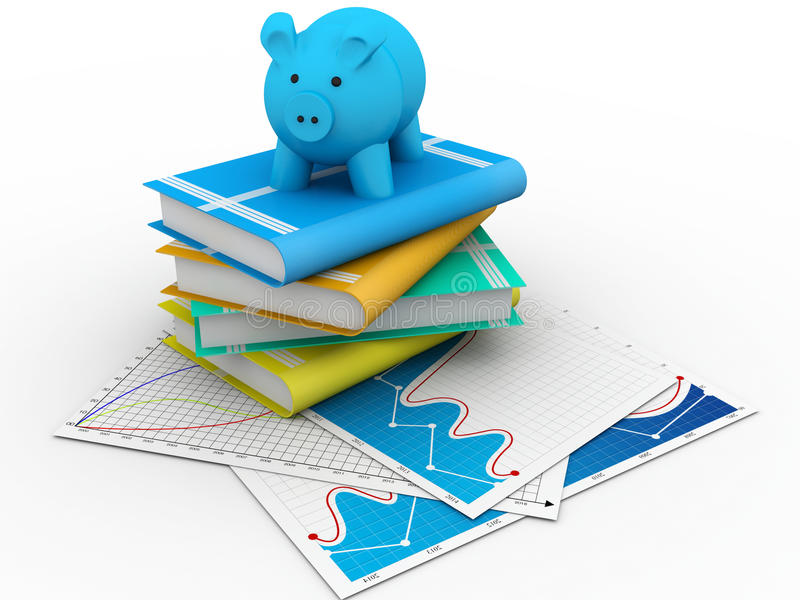 Download Piggy bank and books stock illustration. Image of library - 37220511
