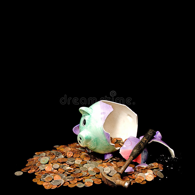 Piggy Bank Broke Concept - Breaking the Bank royalty free stock photo