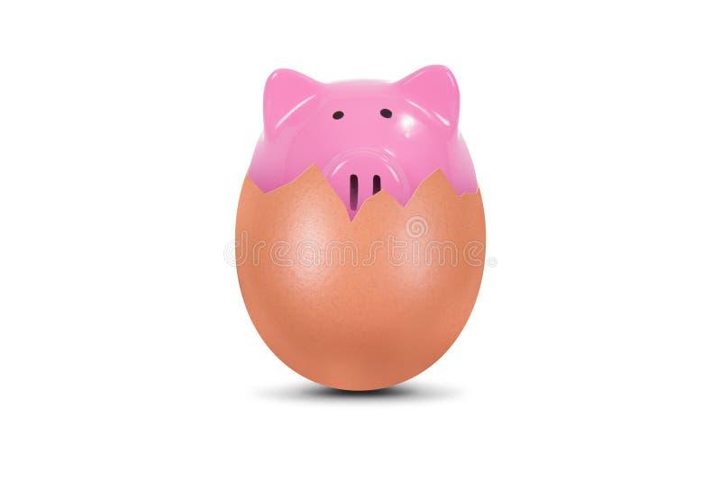 Piggy Bank in Broken Egg royalty free stock photos