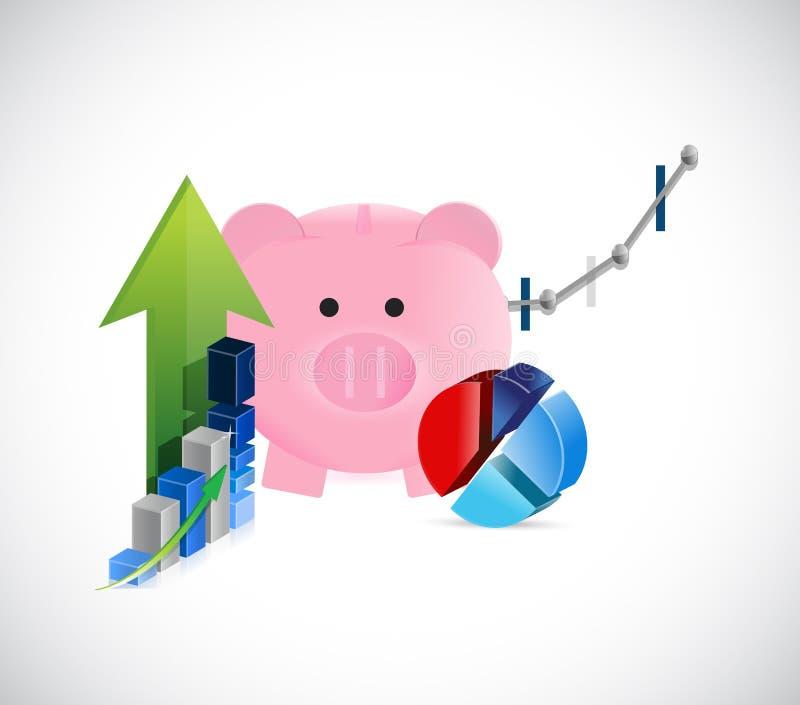 piggy bank business graphs concept illustration vector illustration