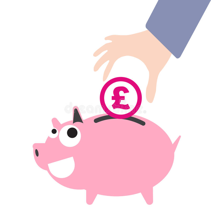 Piggy Bank And Business Hand Putting Money Currency Pound Symbol