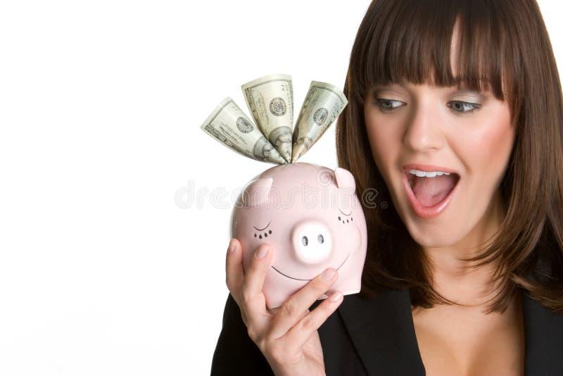 Piggy Bank Businesswoman royalty free stock photos