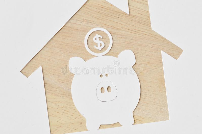 Download Piggy Bank And Buying A House Project   Saving Money For Future  Stock Image