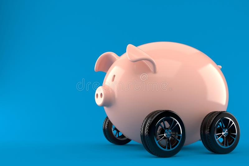 Piggy bank with car tires stock illustration