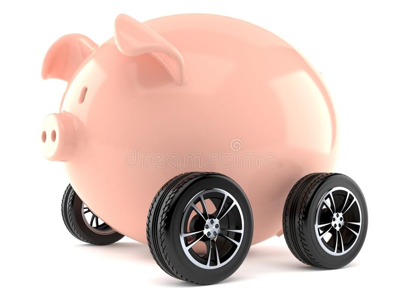 Piggy bank with car tires royalty free illustration