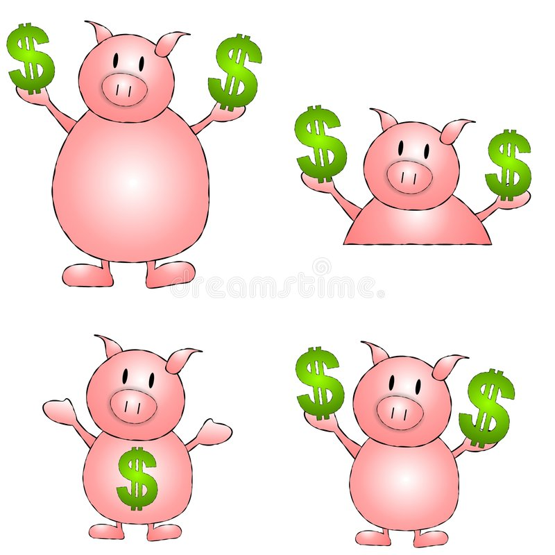 Piggy Bank Cartoons. An illustration featuring your choice of piggy bank cartoons in various paoses and sizes stock illustration