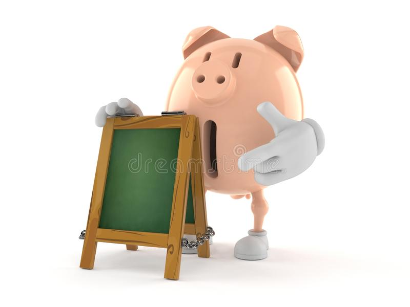 Piggy bank character with chalk signboard. Isolated on white background. 3d illustration vector illustration