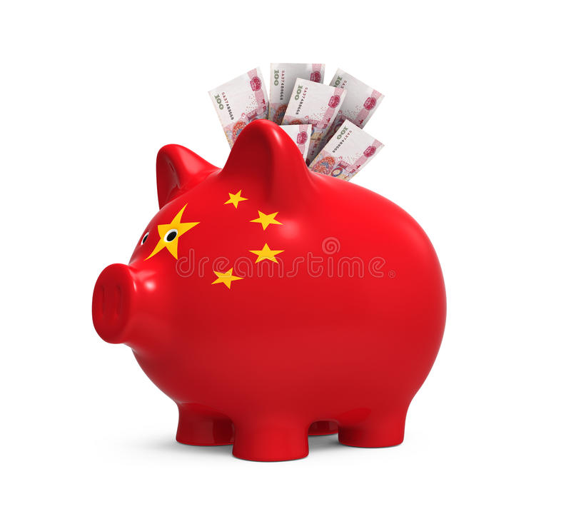 Piggy Bank with Chinese Yuan. Isolated on white background. 3D render