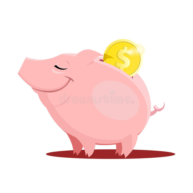 Piggy bank with a coin. Illustration of piggy bank with a coin